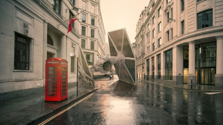 Bruchlandung eines Tie-Fighters in London  Image: Nicolas Amiard