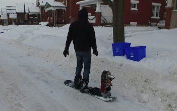 Snowboard mit Turbine