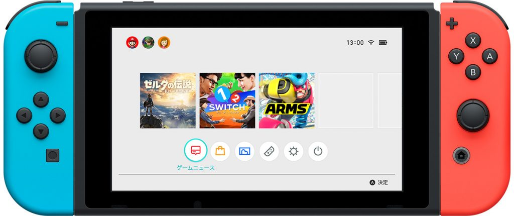 Startscreen Nintendo Switch